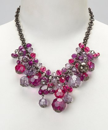 Silver & Violet Beaded Necklace