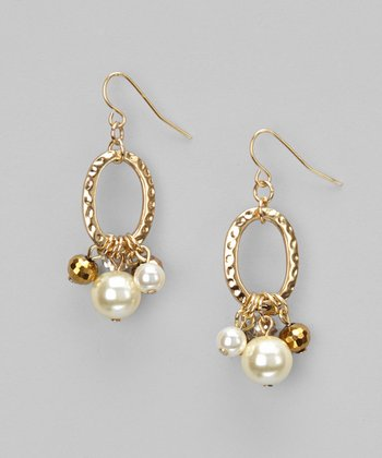 Gold & Ivory Pearl Hammered Circle Drop Earrings