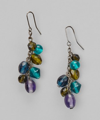 Turquoise & Chartreuse Beaded Glass Drop Earrings