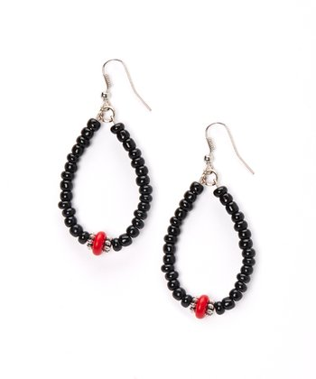 Black & Red Hoop Beaded Earrings