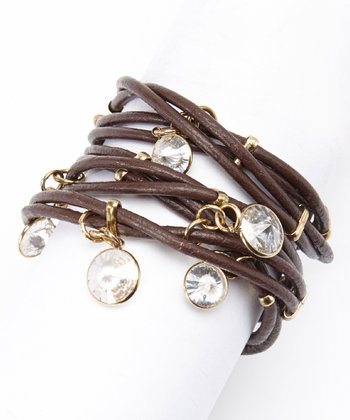 Brown & Clear Cubic Zirconia Leather Wrap Bracelet