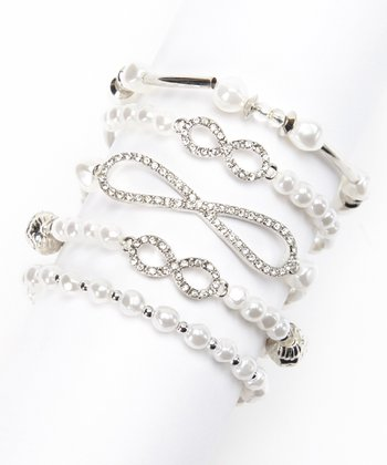 White & Silver Infinity Stretch Bracelet Set