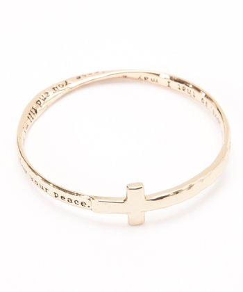Gold Engraved Cross Bangle