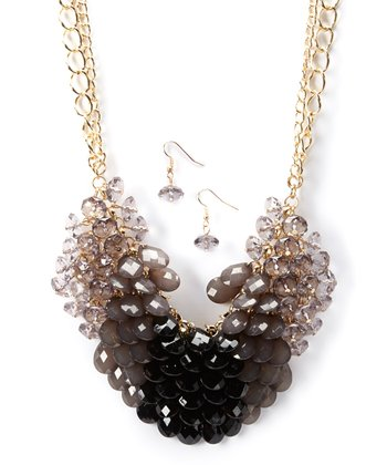 Gold & Black Ombre Bead Bib Necklace & Drop Earrings