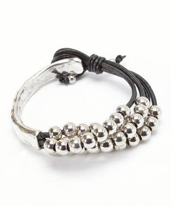 Silver & Black Layered Bead Bracelet