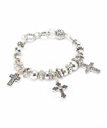 Silver Cross Bead Bracelet