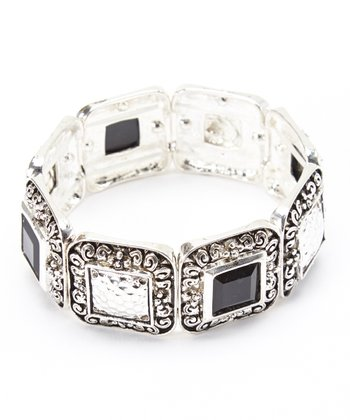 Silver & Black Geometric Filigree Stretch Bracelet
