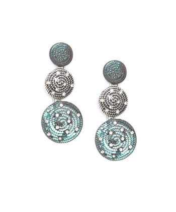 Turquoise Sparkle Disc Drop Earrings