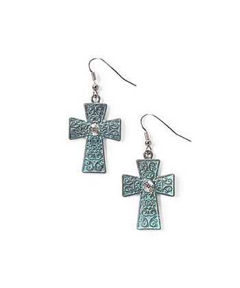 Turquoise Sparkle Celtic Cross Drop Earrings