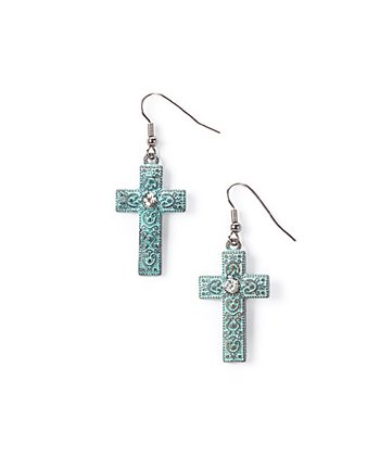 Turquoise Sparkle Cross Drop Earrings