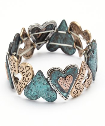 Gold & Turquoise Heart Stretch Bracelet