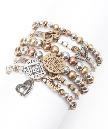 Brown Bead Charm Stretch Bracelet Set