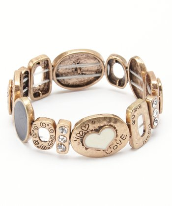 Gold Sparkle 'Love' Stretch Bracelet