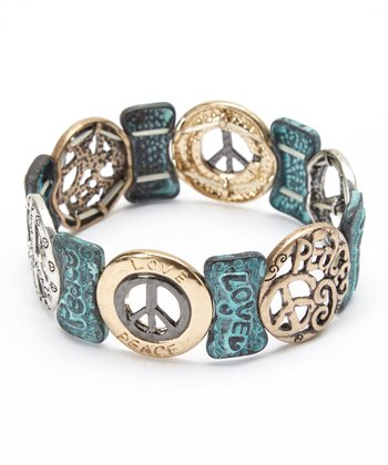 Turquoise 'Peace' Stretch Bracelet