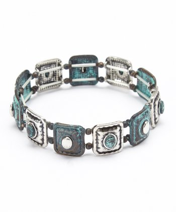 Antique Silver Square Stretch Bracelet