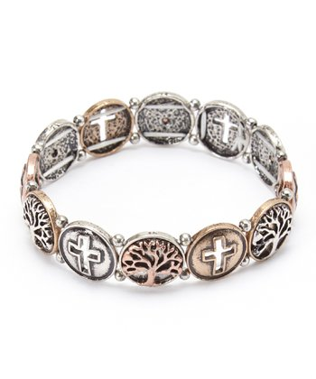 Tricolor Tree of Life & Cross Stretch Bracelet