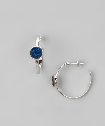 Dark Blue Drusy & Sterling Silver Hoop Earrings