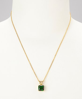 Emerald & Gold Square Pendant Necklace