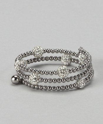 Silver & Czech Crystal Beaded Wrap Bracelet