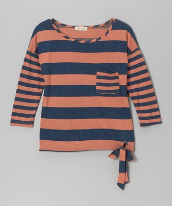 Coral & Navy Stripe Tie Top - Girls