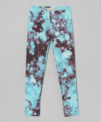 Turquoise Galaxy Leggings - Girls