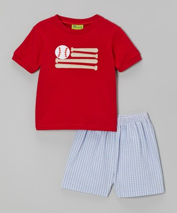 Light Blue Plaid Baseball Bat Flag Tee & Shorts - Infant, Toddler & Boys