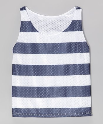 Navy Stripe Mesh Breakout Reversible Tank - Girls
