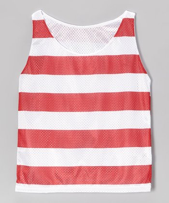 Red Stripe Mesh Breakout Reversible Tank - Girls
