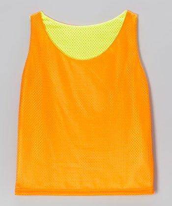 Fit 2 Win Sportswear Neon Orange & Yellow Reno Reversible Mesh Tank - Girls