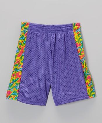 Fit 2 Win Sportswear Royal Side Stripe Mesh Kiki Shorts - Girls