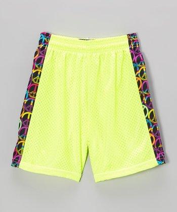 Fit 2 Win Sportswear Neon Yellow Side Stripe Mesh Kiki Shorts - Girls
