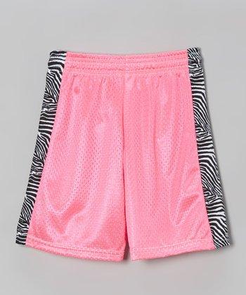Fit 2 Win Sportswear Neon Pink Side Stripe Mesh Kiki Shorts - Girls