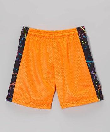Fit 2 Win Sportswear Neon Orange Side Stripe Mesh Kiki Shorts - Girls