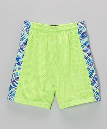 Fit 2 Win Sportswear Neon Green Side Stripe Mesh Kiki Shorts - Girls
