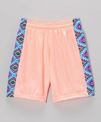 Fit 2 Win Sportswear Coral Side Stripe Mesh Kiki Shorts - Girls