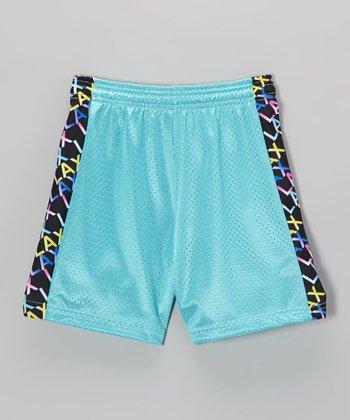 Fit 2 Win Sportswear Turquoise Side Stripe Mesh Kiki Shorts - Girls