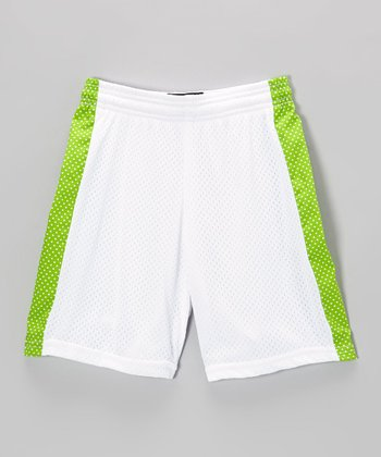 Fit 2 Win Sportswear White & Green Mesh Daisy Shorts - Girls