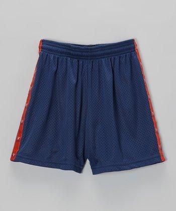 Fit 2 Win Sportswear Navy & Orange Stripe Mascot Shorts - Girls