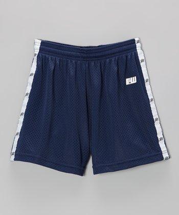 Fit 2 Win Sportswear Navy & White Stripe Mascot Shorts - Girls