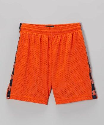 Fit 2 Win Sportswear Orange & Navy Stripe Mascot Shorts - Girls