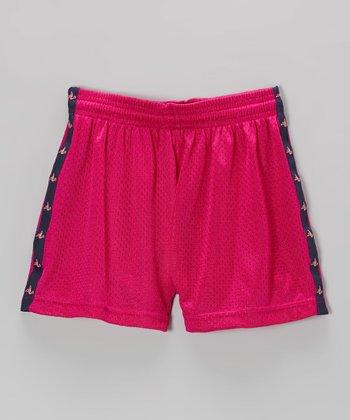 Fit 2 Win Sportswear Fuchsia & Navy Stripe Lotus Shorts - Girls