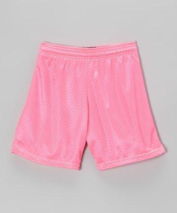 Fit 2 Win Sportswear Neon Pink Mesh Rockville Shorts - Girls