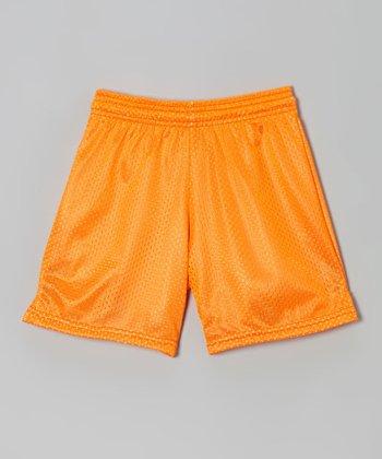 Fit 2 Win Sportswear Neon Orange Mesh Rockville Shorts - Girls