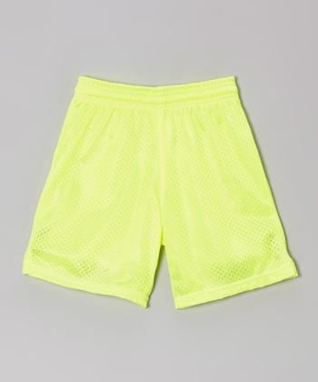 Fit 2 Win Sportswear Neon Yellow Mesh Rockville Shorts - Girls