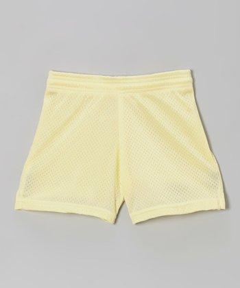Fit 2 Win Sportswear Pale Yellow Mesh Rockville Shorts - Girls