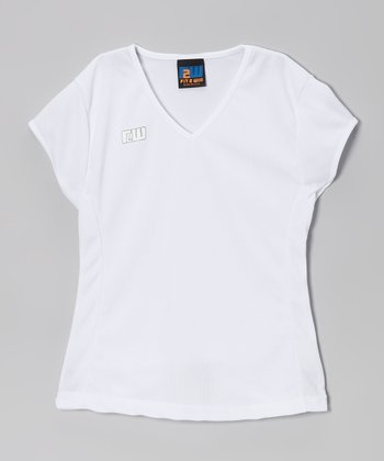 Fit 2 Win Sportswear White New Jersey Top - Girls