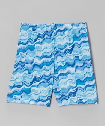 Fit 2 Win Sportswear Blue Oil Marble Miami Shorts - Girls