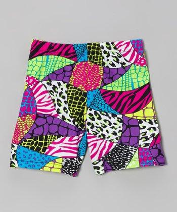 Fit 2 Win Sportswear Fuchsia Mosaic Miami Shorts - Girls