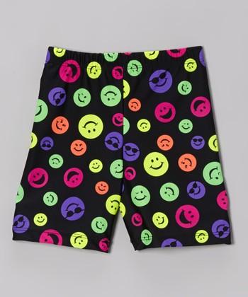 Fit 2 Win Sportswear Black Neon Smiley Miami Shorts - Girls