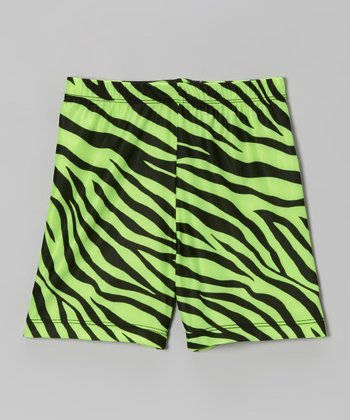 Fit 2 Win Sportswear Neon Lime Zebra Miami Shorts - Girls